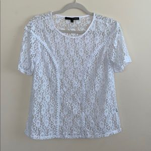 Harve Benard White Lace Floral Top